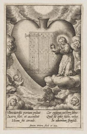 A late 16th early 17th century plate which is a line drawing showing a huge heart containing a door at which an angel is knocking.