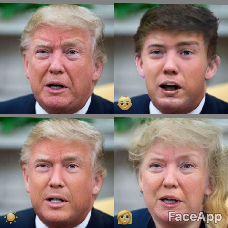 This shows four images set in a square. The top left image is of Trump with his mouth open looking quite old with white hair and eyebrows. The one top right has used a filter to make him look very young. Eye bags and wrinkles are removed and he has dark hair and brows. He looks about 20. Bottom left is the Hollywood filter. Trump's jaw has been squared and sharpened, his skin smoothed, his eyes are bigger and more clear and his face is tight and youthful looking if a bit perma tanned. On the bottom right is a brilliantly funny picture of Trump as a rather glamorous older woman with peach lipstick and a cascade of blonde hair.