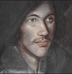 A sketch of John Donne as a young man taken from a painting. It shows a romantic looking young man with full lips, a long nose and soulful eyes. He is dark with pale skin.