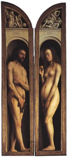A renaissance portrayal of Adam and Eve painted on a wooden panel which would have formed part of the Alter. Both characters are naked and painted very realistically, including body hair.