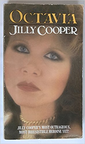 A very 80's design, the cover of Cooper's Octavia showing a close up of Cooper's face. She is wearing lots of make up and gold jewellery.